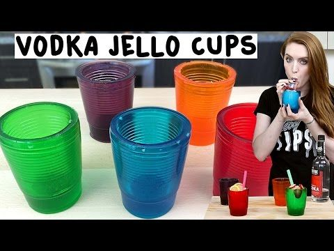 Vodka Jello Cups - Tipsy Bartender - YouTube::::VODKA JELLO CUPS  1/2 Cup hot water 4 Packs of Gelatin 1/2 Cup cold water 1 oz. (30 ml) Vodka Big Cup Small Cup Non Stick Spray  Tape