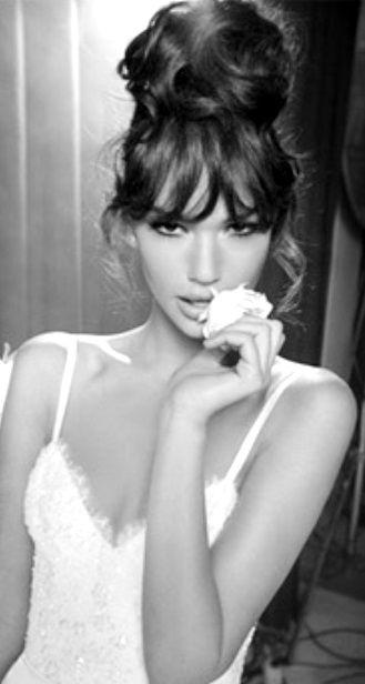 Bride's loose high bun updo with bangs bridal hair ideas  Toni Kami Wedding Hairstyles ♥ ❷ Perfect