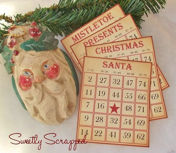 SALE Vintage Christmas Bingo Cards Set of 4 by SweetlyScrappedArt