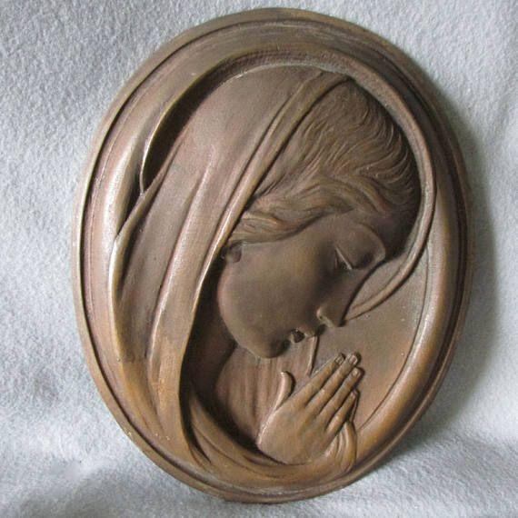 Vintage Bronze Plaque of Madonna Garden or Home Decor