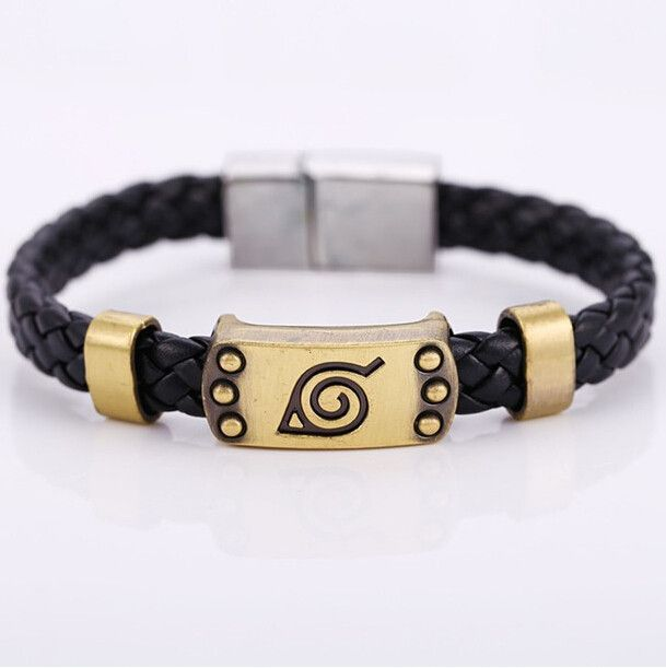 J&R Hot Anime Naruto Braid leather Bracelets Bangle Akatsuki Itachi Konoha logo Alloy bracelet Wristband Cosplay jewelry For Fan