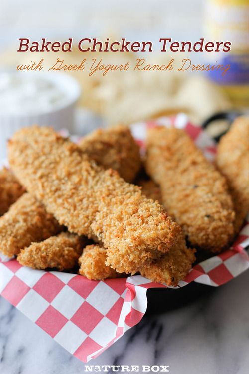 Baked whole wheat chicken tenders with Greek yogurt ranch!:: I think I'm making these...