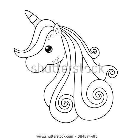 Cute unicorn clipart coloring activity. Vector