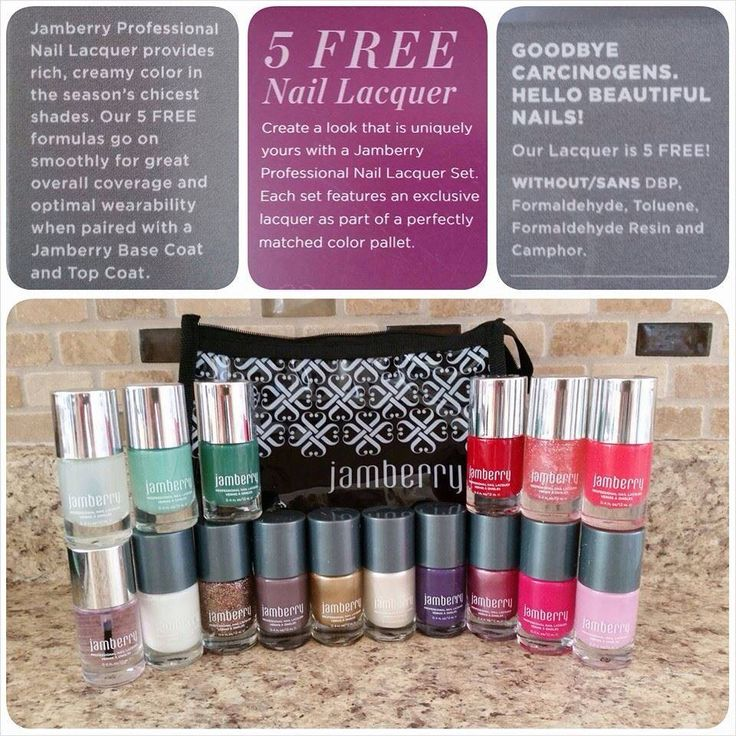 "Jamberry nail lacquers. Just like the wraps, they are non toxic and ""5 free"". They are a salon quality polish, that is thicker than most drug store polishes. This means fewer coats, less chipping and they last longer than other polishes."