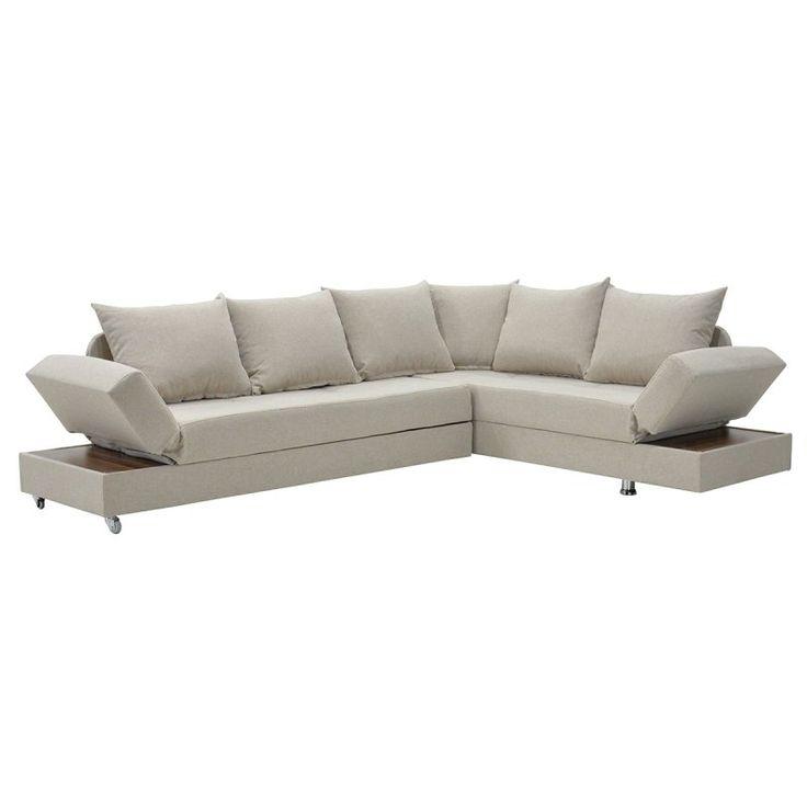 Γωνιακός καναπές - κρεβάτι Roma με ύφασμα εκρού 249x185x82