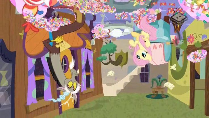 #1466624 - boomerang (tv channel), discord, discordant harmony, fluttershy, safe, screencap, spoiler:s07e12, upside down - Derpibooru - My Little Pony: Friendship is Magic Imageboard