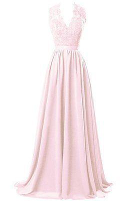 Long Bridesmaid Prom Dresses Lace V-Neck Evening A-Line Party Gowns Plus Size