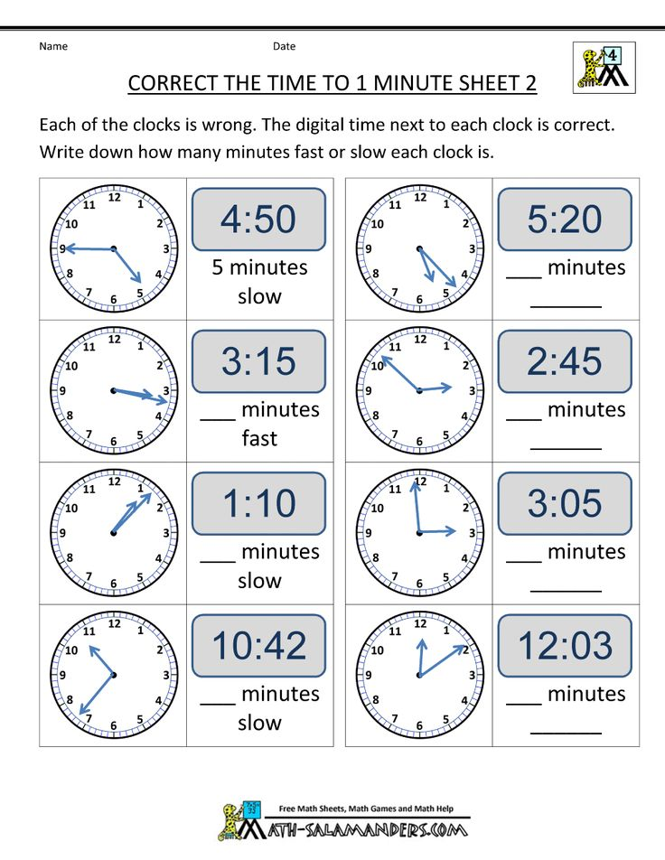 clock worksheets correct the time from math salamanders this is an interesting twist on the. Black Bedroom Furniture Sets. Home Design Ideas