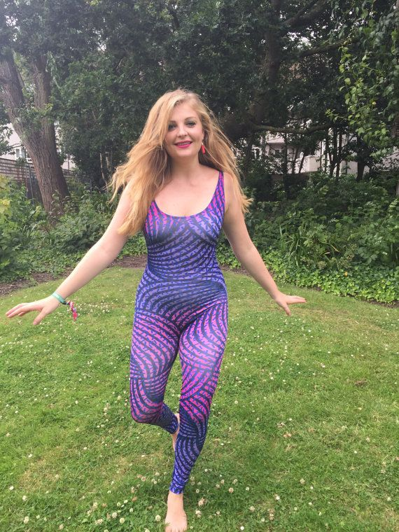 Swirl Strike 80's Style Print Colourful Catsuit Fitness by Danbine