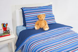 Every boy will love this plain dark blue cotton, the perfect foil for the smart red and blue stripes on the reverse of this Sports Stripe quilt cover.