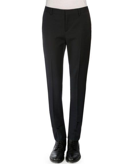SAINT LAURENT Virgin Wool Tuxedo Pants, Navy, Black. #saintlaurent #cloth #