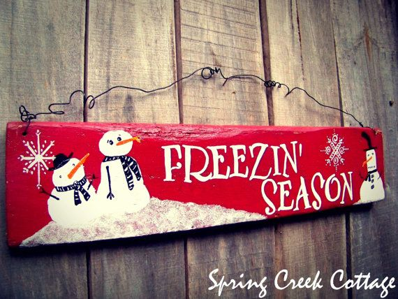 Freezin' Season, Whimsical Hand-painted Snowman Sign, in Santa-Clause Red