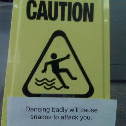 Caution: Dancing Badly will Cause Snakes to Attack You.  Tango Well!: Ballet Pictures, Dance Floors, Funny Signs, Funny Pictures, Funny Stuff, Snakes, Dance Bad, True Stories, Pictures Quotes