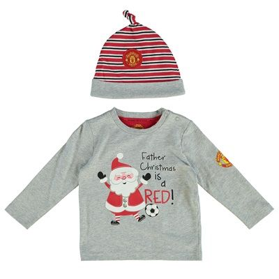 Manchester United Father Christmas Is Red T-Shirt and Hat Set - Grey M: Manchester United… #ManUtdShop #MUFCShop #ManchesterUnitedShop
