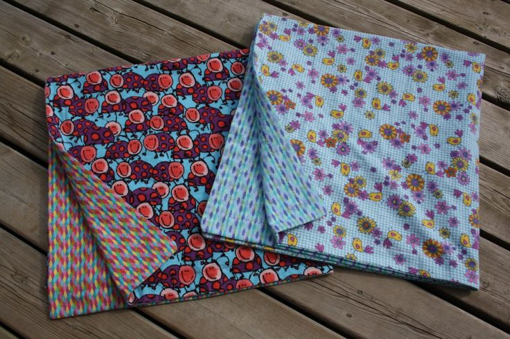 Jumbo, reversible receiving blankets made from  two coordinating flannel fabrics.  So cute and so easy!