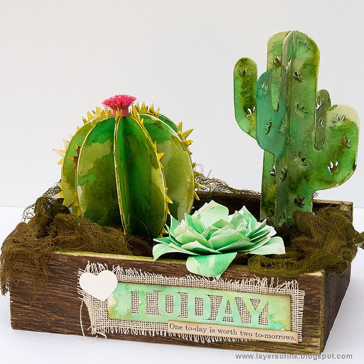 Watercolor Cacti Tutorial by Anna-Karin Evaldsson on the Sizzix blog. Made with Succulent Serenity dies by Lynda Kanase, and watercolor paint. The plants are easy to do and can be done in many variations.