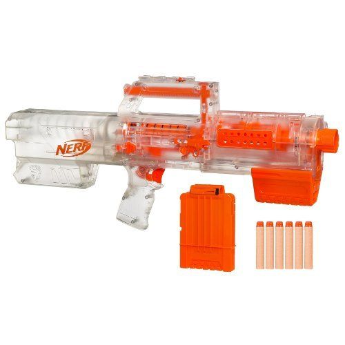 """Nerf N-Strike Deploy CS-6 Dart Blaster - Clear . $39.99. From the Manufacturer                When your mission calls for stealth, this DEPLOY CS-6 blaster is just the right """"weapon"""" to choose. Convert this pump-handle blaster into a flashlight when you need to track your target through darkened tunnels or in the dead of the night. When you finally find your mark, quickly convert it back to blaster, line up the tactical rail and fire at a moment's notice."""