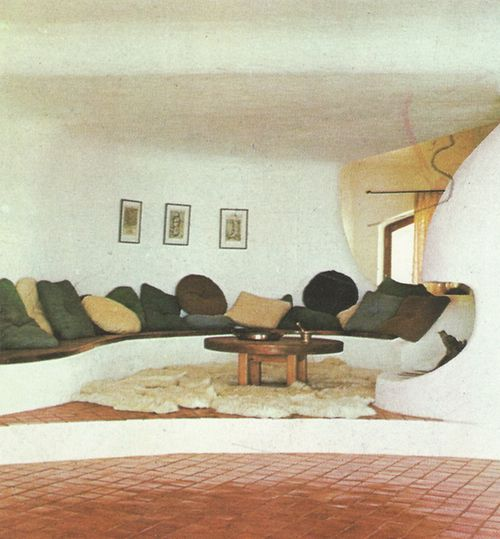 Lounge area with pillows. THE HOUSE BOOK | Terence Conran ©1976 #design #ideas