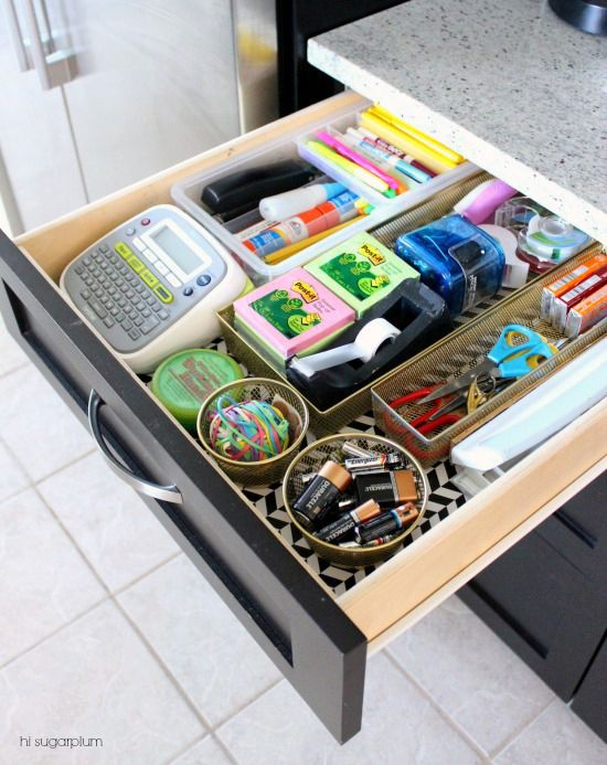 Family Command Center | UHeart Organizing:  The Junk Drawers That Went Glam