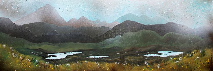 Airdhbruach, Isle of Lewis, looking back towards the Isle of Harris, Scotland. Painting by Andrew Peutherer.