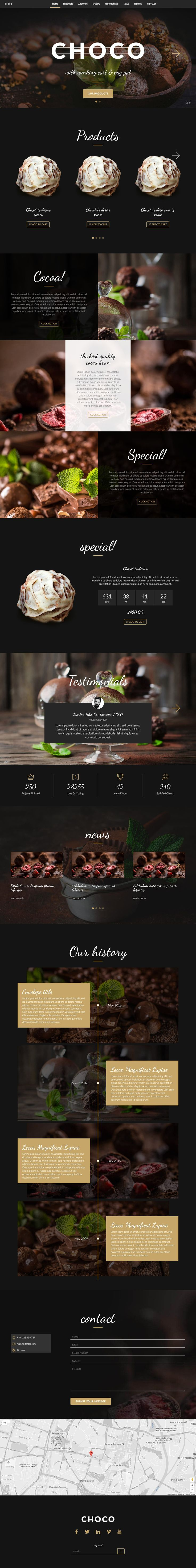 'Choco' is a One Page HTML E-commerce template perfect for a shop selling between 1 and 10 products. The template comes with light or dark colors scheme options - the dark pictured here. The real win is this template already has a working cart that integrates right into PayPal. Other features include big image intro slider, product carousal, specials section (with countdown timer), testimonials to help those conversions, a history timeline, a contact form and of course a location map.