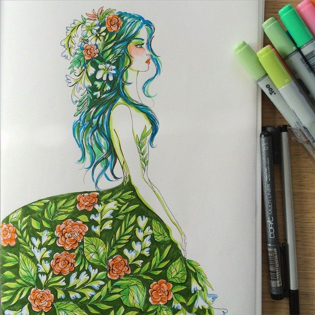 #springdress #flowers #girl #arts_mag #art_boost #ArtSpotlight #artoftheday #artofdrawingg #copics #CopicArt  #instartpics #imaginationarts_ #bustle