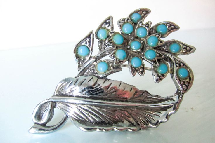 Vintage ladies brooch, vintage flower brooch, turquoise brooch, gift for women, silver leaf art deco brooch, by thevintagemagpie01 on Etsy