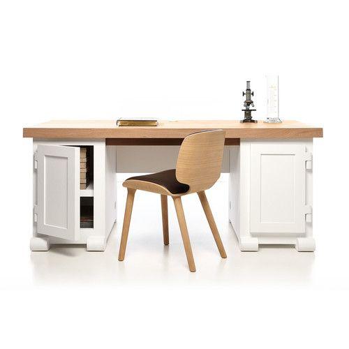 White Wood Computer Desk Three Monitor Desk