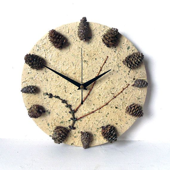 Unique Wall Clock - Real Pine Cones Clock - Decoupage Clock -  Mulberry Paper Woodland Botanical Clock