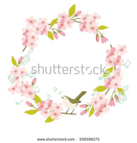 Sakura Cherry blossom round frame with a bird