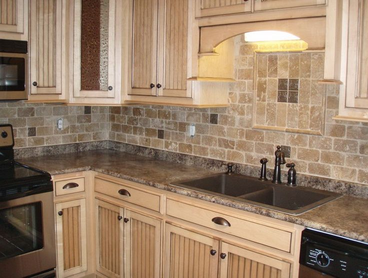 Tumbled Stone Backsplash Tiles Kitchen Design