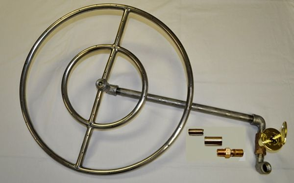 Hearth Products Controls Round Stainless Steel Match-Lit Propane Fire Pit Insert Kit - 24 Inch