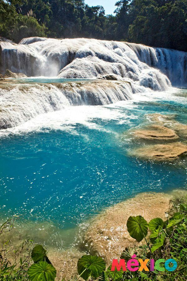 I would love to sit on one of the rocks with my feet in the water...relaxing. Cascadas de Agua Azul, Chiapas