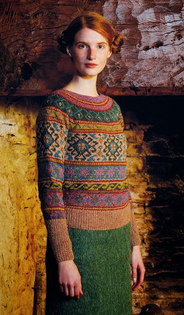 Anatolia pullover sweater from Rowan Magazine, issue 54 | colours and image are stunning