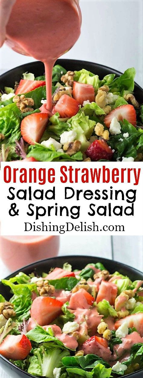 Orange Strawberry Salad Dressing & Spring Salad is a refreshing and healthy side for dinner or lunch.  #saladdressing #glutenfreerecipes  #gluten_free #healthysaladrecipe #strawberryrecipes  #saladdressing