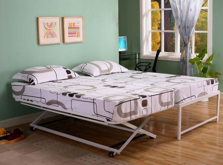 Amazon.com: Twin Size Steel Day Bed (Daybed) Frame with Pop Up Trundle & Mattresses: Home & Kitchen