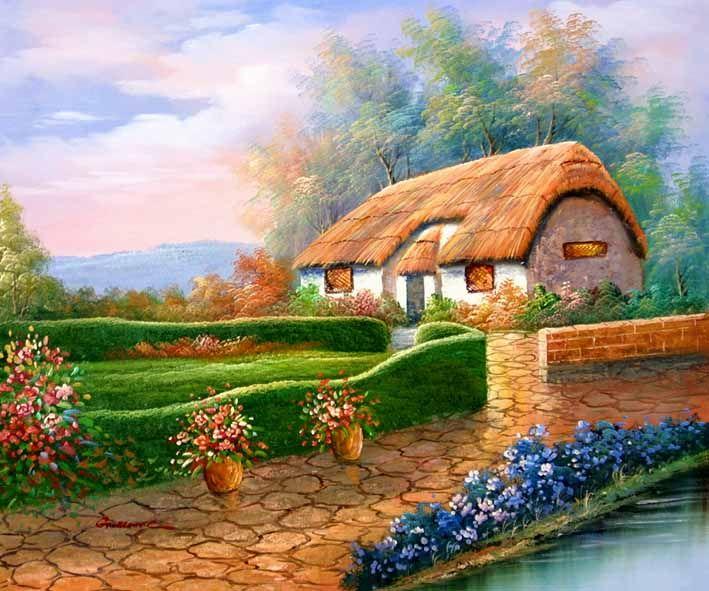 Cottage Art VillageArtworkArtistEnglish Country