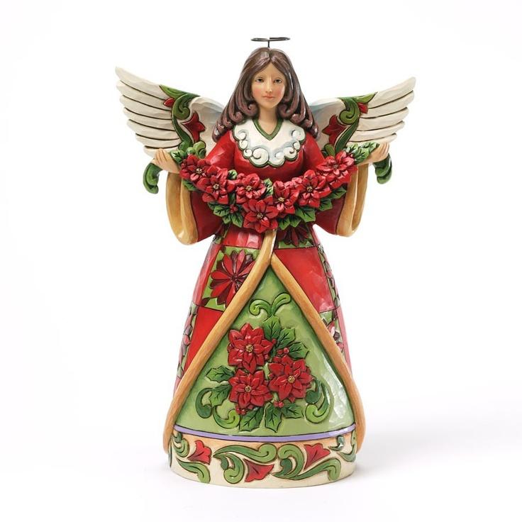 Christmas beauty poinsettia angel figurine jim shore figurines pinterest angels beauty - Angels figurines for sale ...