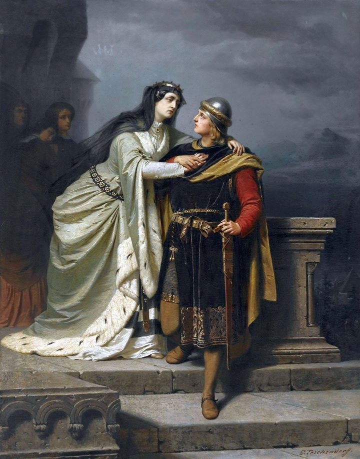 Emil Teschendorff (1833-1894)  Queen Guinevere bidding farewell to Sir Lancelot  Olio su tela, 143 x 113 cm Coll.privata