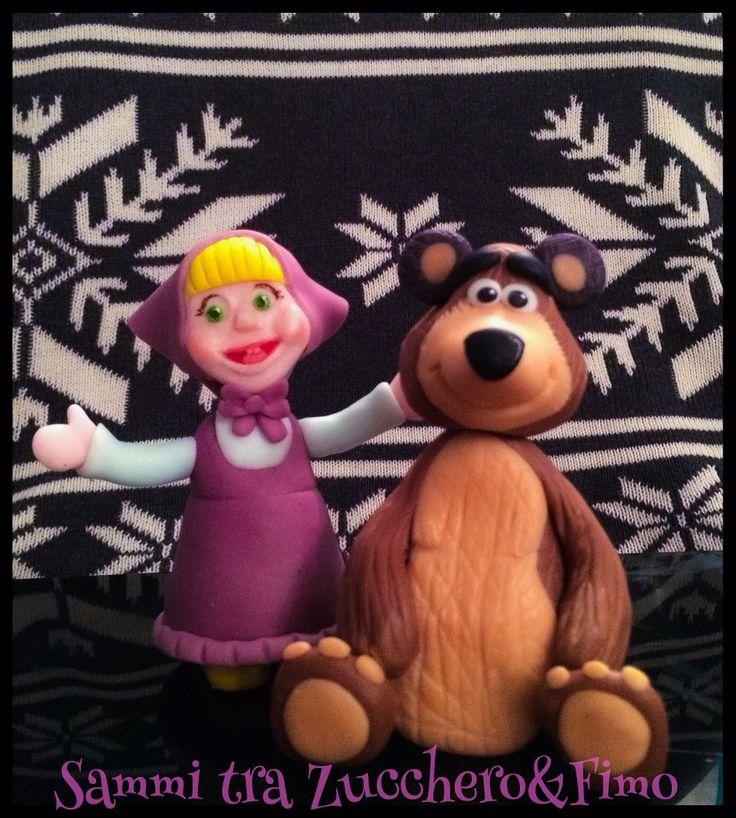 Masha e Orso in pasta di zucchero cake topper sugar art masha and the bear cartoon