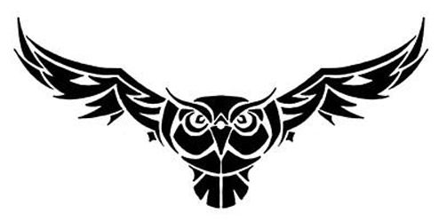 Cool Black Tribal Flying Owl Tattoo Design
