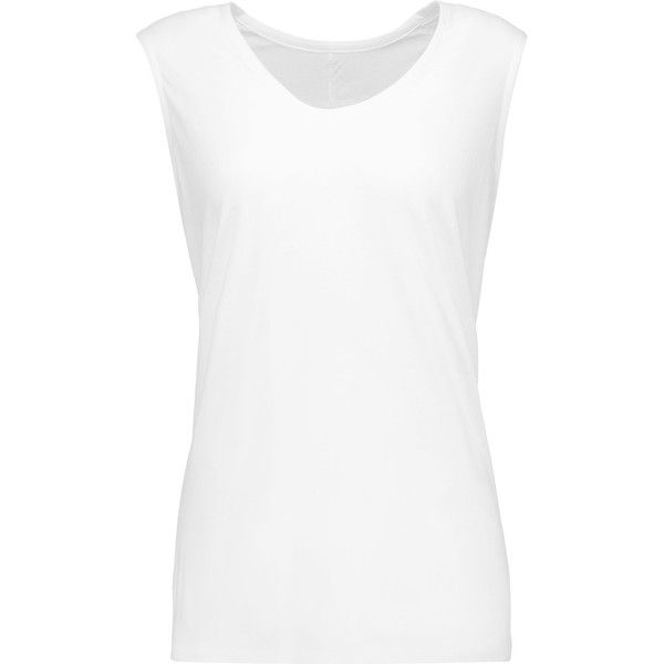 Norma Kamali Cotton-jersey tank ($59) ❤ liked on Polyvore featuring tops, white, loose white top, loose fit tank top, norma kamali, white singlet and loose tank