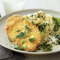 Rachael Ray Parmasan Crusted Chicken http://www.rachaelraymag.com/Recipes/rachael-ray-magazine-recipe-search/rachael-ray-30-minute-meals/parmigiano-reggiano-crusted-chicken-piccata