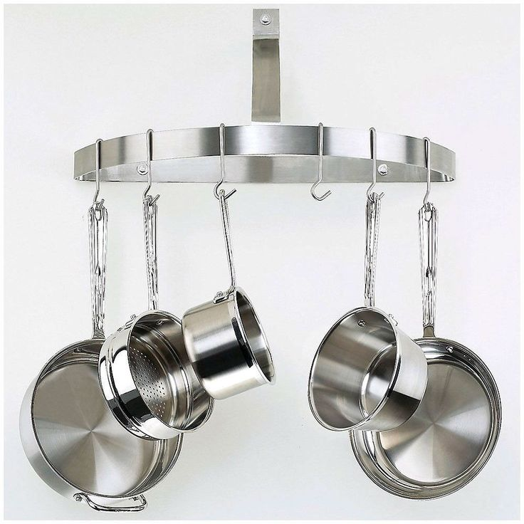 THIS ITEM WILL ARRIVE IN 8-15 DAYS AND ONLY SHIPS TO THE CONTINUOUS UNITED STATES. Keep pots and pans out of curious toddlers' reach by hanging them from this Wall Mount Half Circle Pot Rack in Brushe