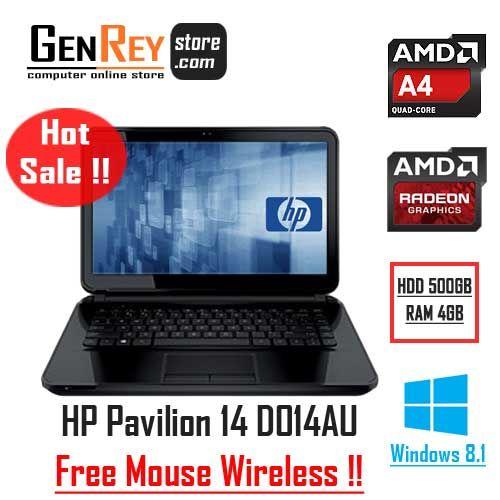 Hot Sale !! HP PAVILION 14 D014AU || *Free Mouse Wireless. Order Sekarang Disini -> http://www.genreystore.com/jual-hp-pavilion-d014au