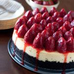 Strawberry Cheesecake with an Oreo crumb crust - Barbara Bakes