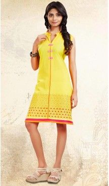 Yellow Color Cotton Straight Style Readymade Kurtis | FH476573690 #kurtis , #kurtas , #tunic , #top , #fashion , #clothing , #women , #heenastyle , #ladies , @heenastyle  , #teenagers , #girls , #style , #mode , #mehendi , #diwali #utsavfashion , #fashion , #boutique , #online , #colors , #dresses , #christmas , #party , #dresses , #shopping , #sequin , #peplum , #xmas , #outfit , #black , #red , #colors , #collection , #novelty , #print, #themed , #2016 , #stunning , #swing