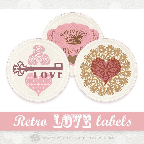 Printable valentine labels stickers tags diy digital by ameliycom 5 00 printable valentines day labels