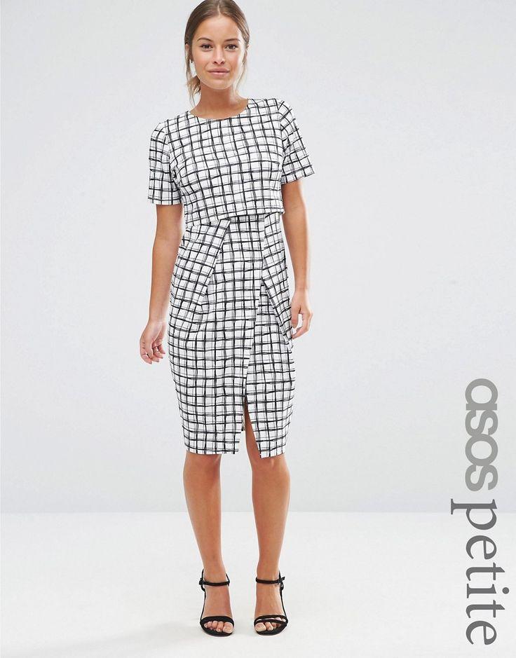 Image 1 -ASOS PETITE Textured Wrap Wiggle Dress In Check Print