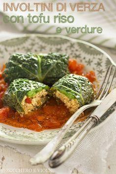 Involtini di verza con tofu, riso e verdure
